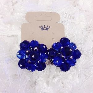 Blue Beaded Cluster Clip On